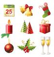 glossy christmas icons set vector image vector image