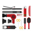 hairdresser beauty tools icon flat design style vector image vector image