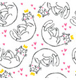 hand drawn funny cats with hearts in sketch style vector image vector image