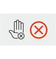 hand stop sign icon set stop symbols vector image vector image