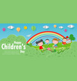 happy children day background group of kids vector image vector image