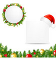 happy christmas banner with santa hat vector image vector image