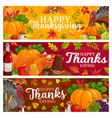 happy thanksgiving banners falling leaves vector image vector image