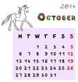 horse calendar 2014 october vector image vector image