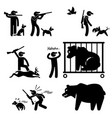 hunter and hunting dog stick figure pictogram vector image