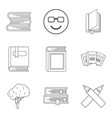 increase of knowledge icons set outline style vector image vector image