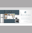 Interior design Modern kitchen background 4 vector image vector image
