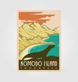 komodo island vintage logo nkomodo island vintage vector image vector image