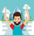 man celebrating in the lake vector image