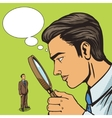 Man looking through magnifier on man pop art vector image vector image