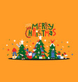 merry christmas fun pine tree people together card vector image