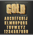 modern elegant golden font and alphabet abc vector image