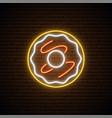 neon donut sign bright light donut emblem vector image vector image