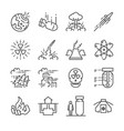 nuclear line icon set vector image vector image