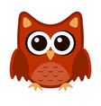 owl funny stylized icon symbol brown orange colors vector image vector image