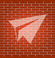 paper airplane sign whitish icon on brick vector image vector image