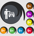 person up hailing a taxi icon sign Symbols on vector image vector image