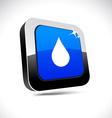 Rain 3d square button vector image vector image