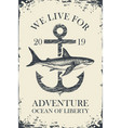 retro travel banner with ship anchor and shark vector image vector image