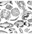 seafood hand drawn seamless pattern design vector image vector image