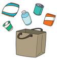 set bag beverage and snack vector image vector image