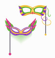 set mardi gras carnival masks with various vector image vector image