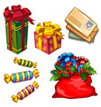 set of gift boxes and bag with gifts letters to vector image