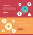 set of urban icons flat style symbols with carpet vector image vector image