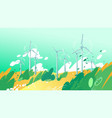 spinning wind turbines in the field with leaves vector image vector image