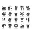 tea black silhouette icons set vector image vector image