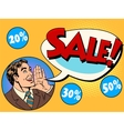 The man announces sale and discounts vector image vector image