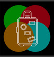 travel luggage icon - travel suitcase vector image vector image