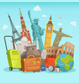 travel poster design with different world vector image vector image