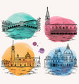 venice watercolor landmarks attractions set vector image vector image