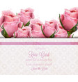 watercolor pink roses card wedding vector image vector image