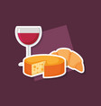 wine cup with cheese vector image vector image