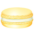 Yellow macaron with cream vector image vector image