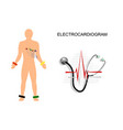 ekg the patient with the electrodes on the chest vector image