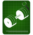 3d model of dumbbells on a green vector image vector image