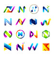 abstract icons design based on the letter n vector image vector image
