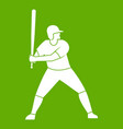 baseball player with bat icon green vector image vector image