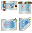 Bathtub top view set 3 vector image vector image