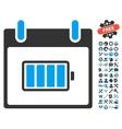 Battery Calendar Day Icon With Bonus vector image vector image