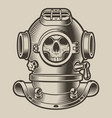 black and white a diving helmet vector image
