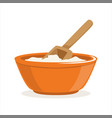 bowl of flour with a wooden scoop baking vector image vector image