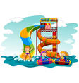 Boys and girl riding down the water slide vector image
