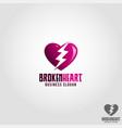 broken heart logo template vector image vector image