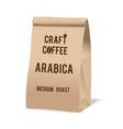 brown paper food bag package craft coffee vector image vector image