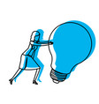 businesswoman pushing a big light bulb in blue vector image vector image