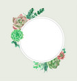 cactus watercolour empty frame for invitation card vector image vector image